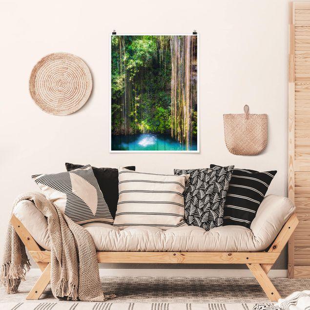 Poster - Hängende Wurzeln von Ik-Kil Cenote - Hochformat 3:4