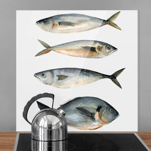 Glas Spritzschutz - Vier Fische in Aquarell I - Quadrat - 1:1