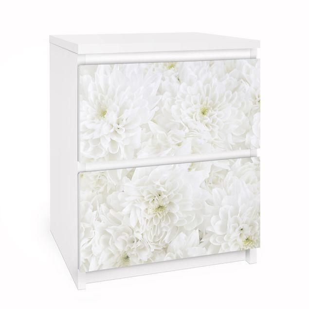 Möbelfolie für IKEA Malm Kommode - Dahlien Blumenmeer weiß - Selbstklebefolie