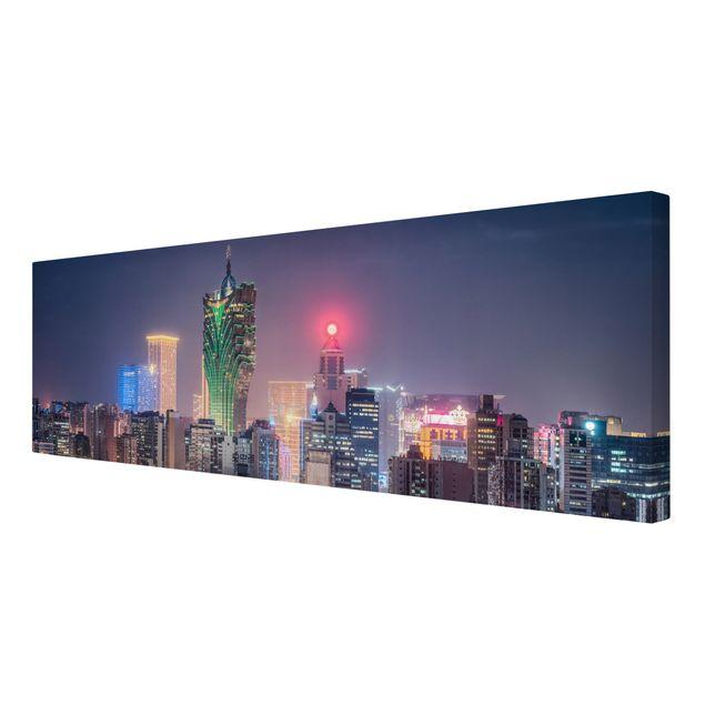 Leinwandbild - Nachtlichter von Macau - Panorama 3:1