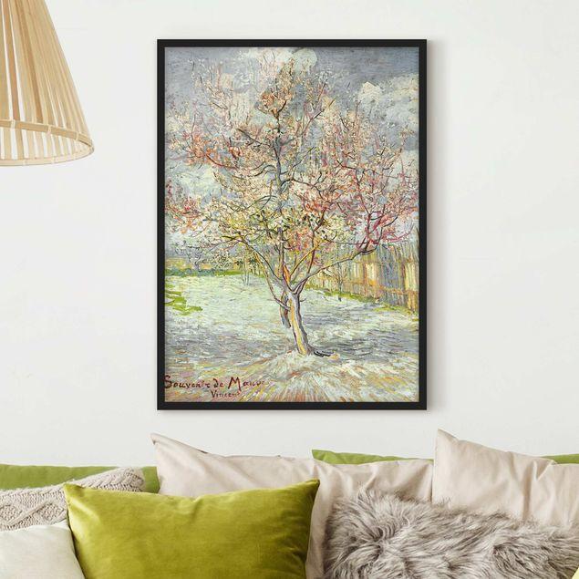 Bild mit Rahmen - Vincent van Gogh - Blühende Pfirsichbäume - Hochformat 3:4