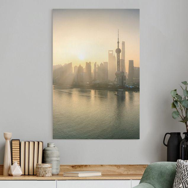 Leinwandbild - Pudong bei Sonnenaufgang - Hochformat 2:3