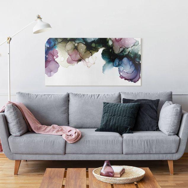 Leinwandbild - Blumenbogen mit Gold - Querformat 2:1