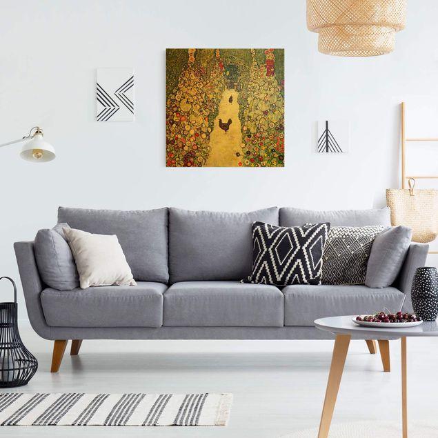 Leinwandbild Gold - Gustav Klimt - Gartenweg mit Hühnern - Quadrat 1:1