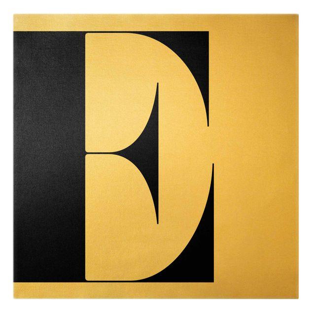 Leinwandbild Gold - Antiqua Letter E - Quadrat 1:1