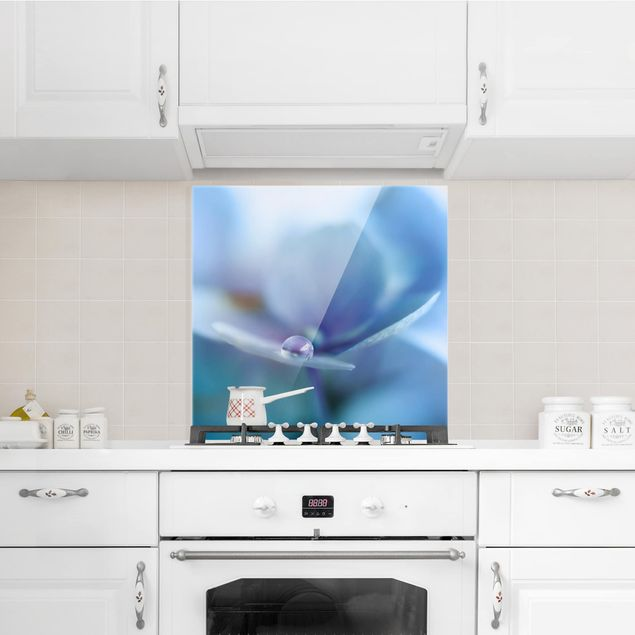 Glas Spritzschutz - Wassertropfen Hortensienblüte - Quadrat - 1:1