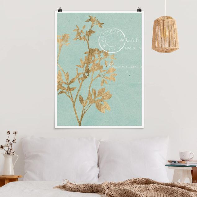Poster - Goldene Blätter auf Turquoise I - Hochformat 3:4