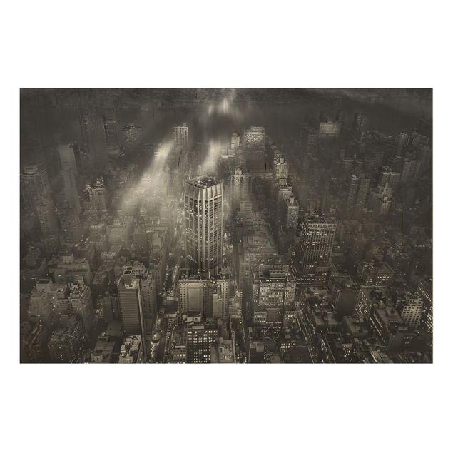 Holzbild - Sonnenlicht über New York City - Querformat 2:3