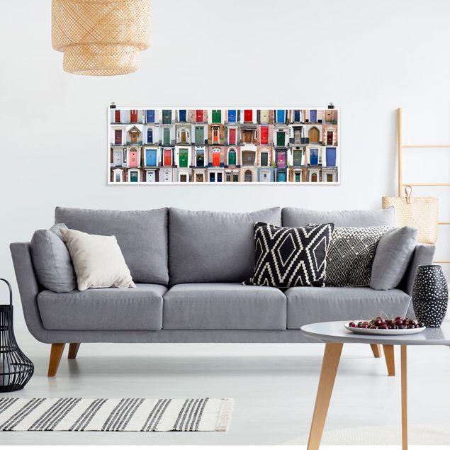 Poster - 100 Türen - Panorama Querformat