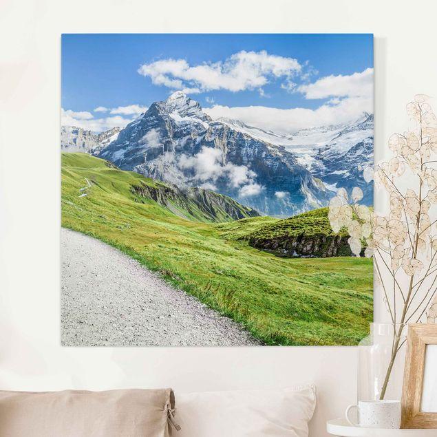 Leinwandbild - Grindelwald Panorama - Quadrat 1:1
