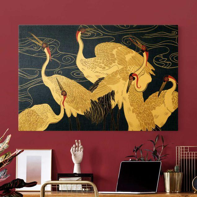 Leinwandbild Gold - Kraniche mit goldenen Federn II - Querformat 3:2