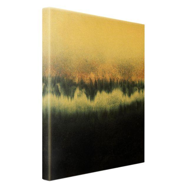 Leinwandbild Gold - Goldener Horizont - Hochformat 2:3