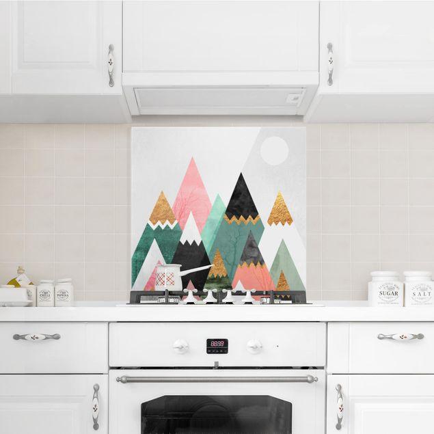 Glas Spritzschutz - Dreieckige Berge mit Goldspitzen - Quadrat - 1:1