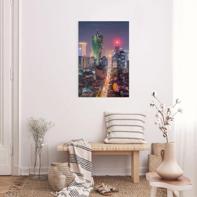Leinwandbild - Nachtlichter von Macau - Hochformat 2:3