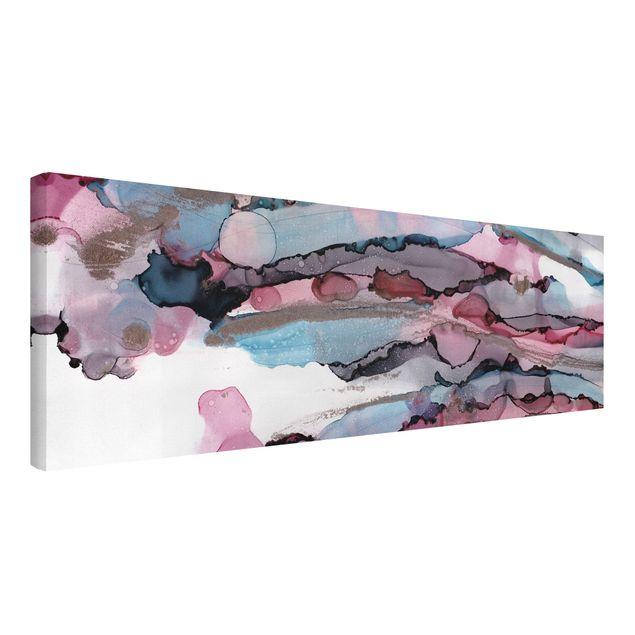 Leinwandbild - Wellenreiten in Violett mit Roségold - Panorama 3:1