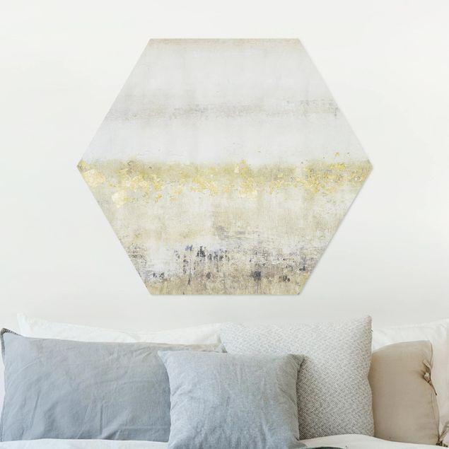 Hexagon Bild Alu-Dibond - Goldene Farbfelder I