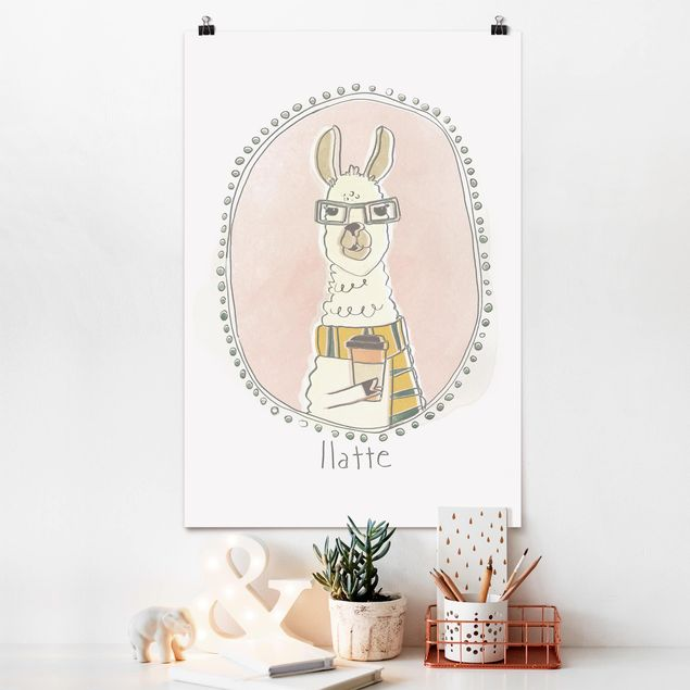 Poster - Koffeinhaltiges Lama - Hochformat 3:2