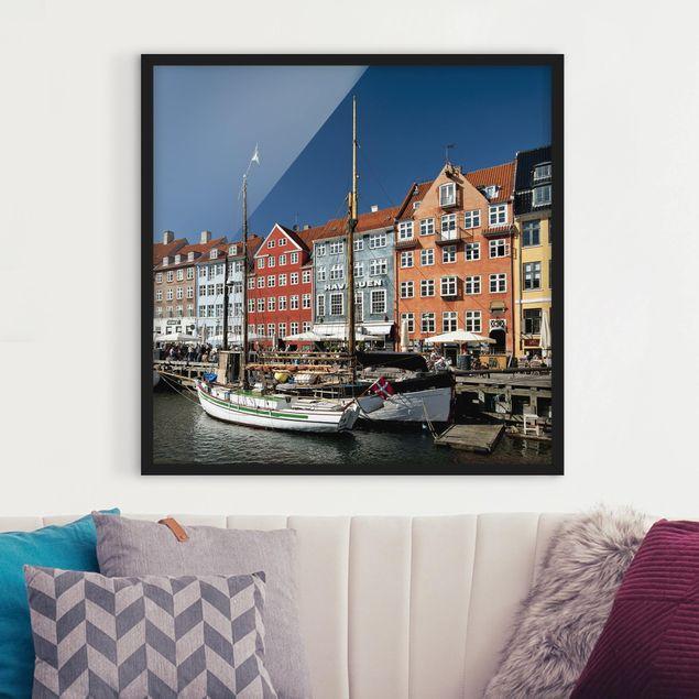 Bild mit Rahmen - No.530 Hafen in Kopenhagen - Quadrat 1:1