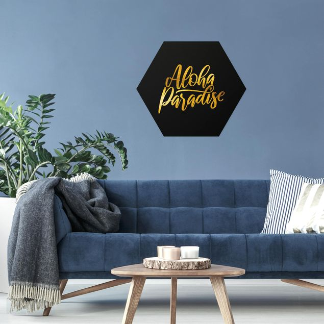 Hexagon Bild Alu-Dibond - Gold - Aloha Paradise auf Schwarz