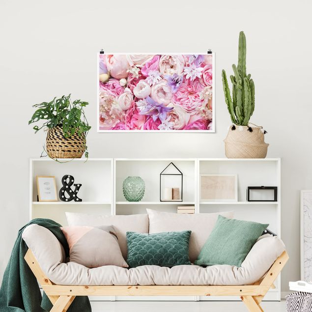Poster - Shabby Rosen mit Glockenblumen - Querformat 2:3