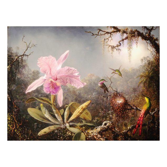 Glas Spritzschutz - Martin Johnson Heade - Orchidee und drei Kolibris - Querformat - 4:3