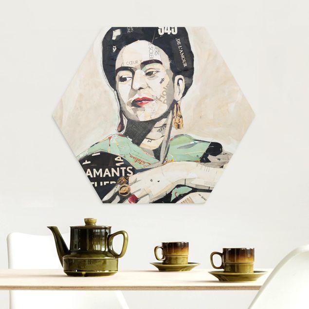 Hexagon Bild Alu-Dibond - Frida Kahlo - Collage No.4