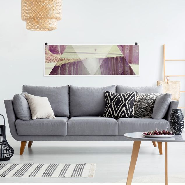 Poster - Geometrie trifft Waldweg - Panorama Querformat