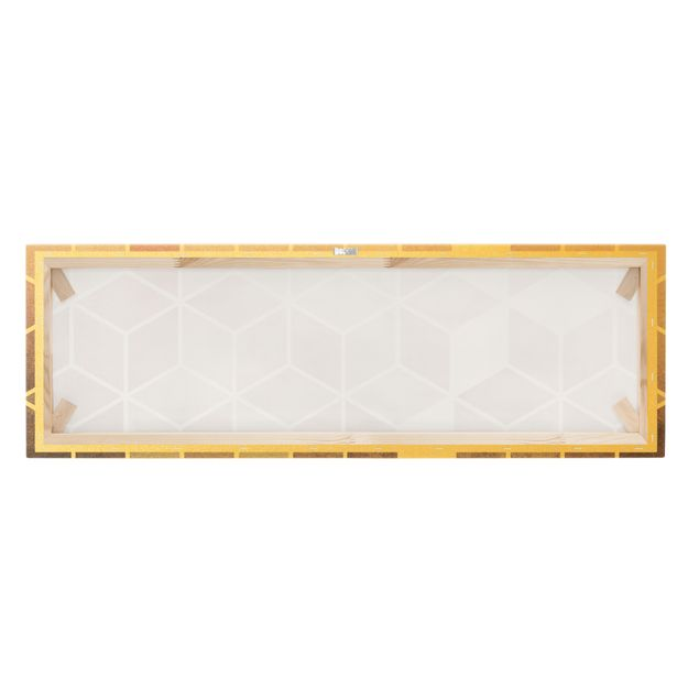 Leinwandbild Gold - Goldene Geometrie - Rosa Grau - Panorama 3:1