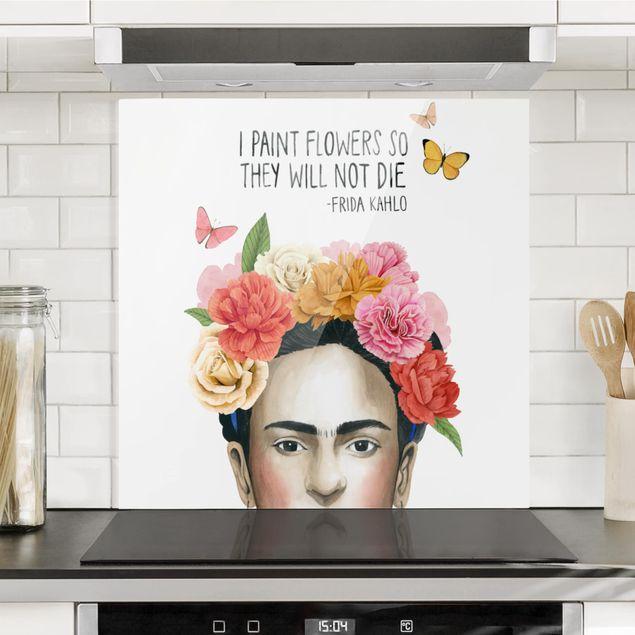 Glas Spritzschutz - Fridas Gedanken - Blumen - Quadrat - 1:1