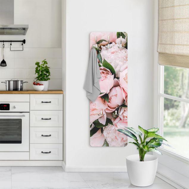 Garderobe - Rosa Pfingstrosen mit Blättern