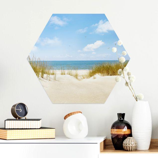 Hexagon Bild Alu-Dibond - Strand an der Nordsee
