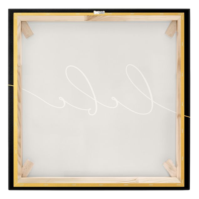 Leinwandbild Gold - Lebe Kalligraphie Schwarz - Quadrat 1:1