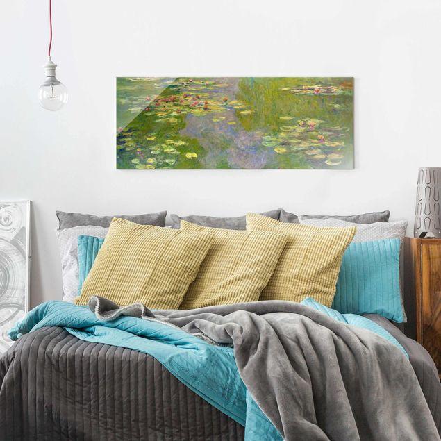 Glasbild - Claude Monet - Grüne Seerosen - Panorama