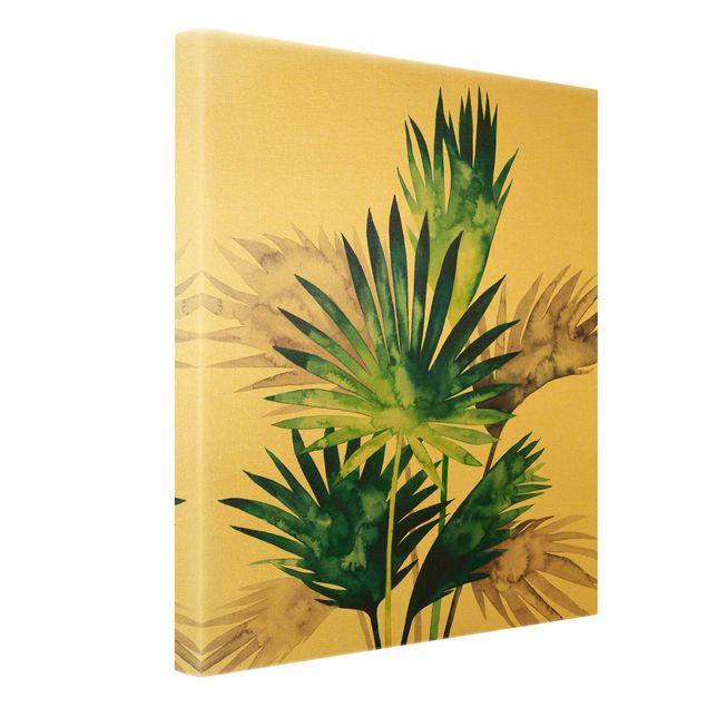Leinwandbild Gold - Exotisches Blattwerk - Fächerpalme - Hochformat 3:4