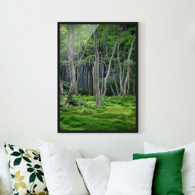Bild mit Rahmen - Japanischer Wald - Hochformat 3:4