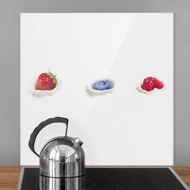 Glas Spritzschutz - Früchte Milch Splash - Quadrat - 1:1