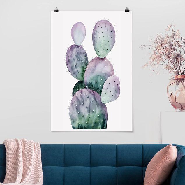 Poster - Kaktus in Lila II - Hochformat 3:2