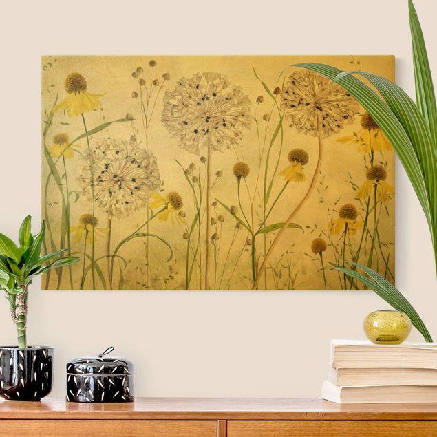 Leinwandbild Gold - Allium und Helenium Illustration - Querformat 3:2