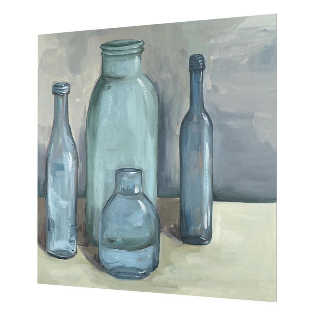 Glas Spritzschutz - Stillleben mit Glasflaschen II - Quadrat - 1:1