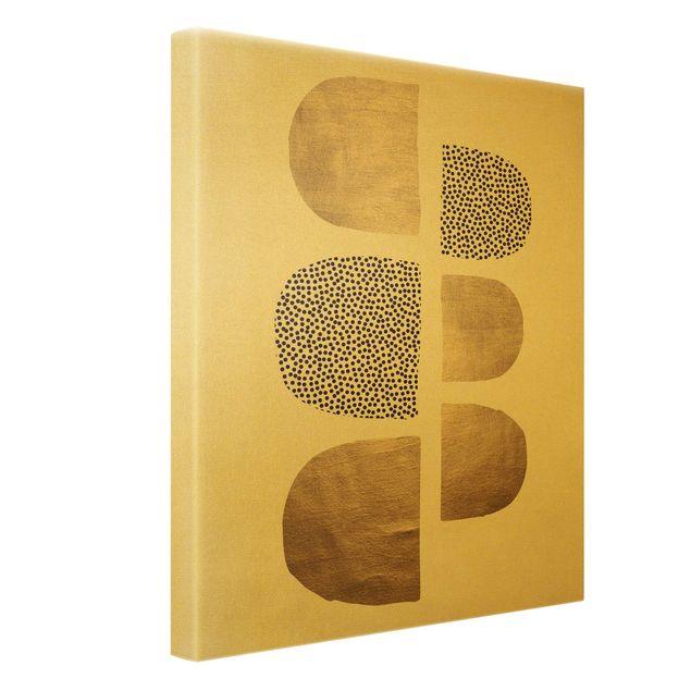 Leinwandbild Gold - Geometrischer Halbkreis III - Hochformat 3:4