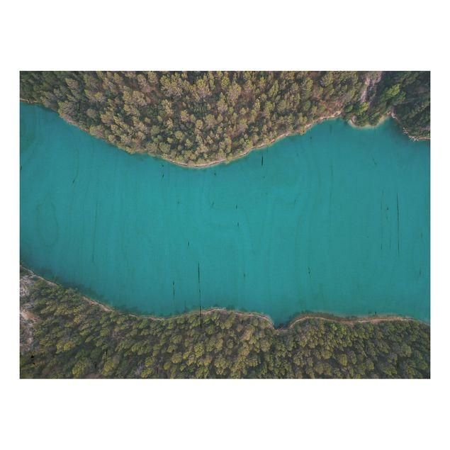 Holzbild - Luftbild - Tiefblauer See - Querformat 3:4