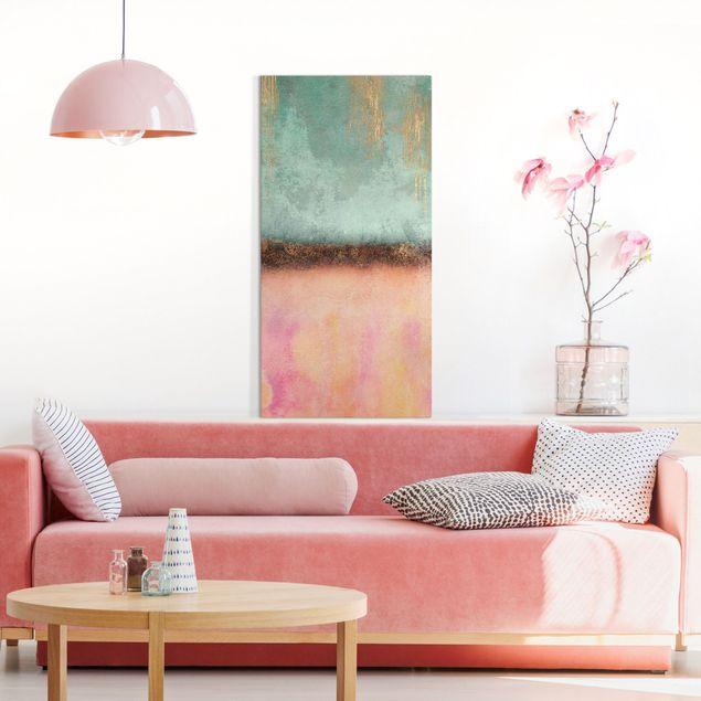 Leinwandbild - Elisabeth Fredriksson - Pastell Sommer mit Gold - Hochformat 1:2