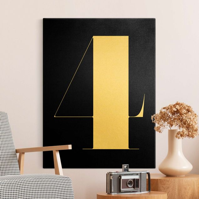 Leinwandbild Gold - Antiqua Zahl 4 - Hochformat 3:4