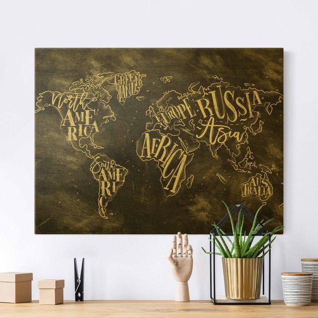 Leinwandbild Gold - Kreide Weltkarte - Querformat 4:3