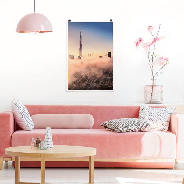 Poster - Himmlische Skyline von Dubai - Hochformat 3:2