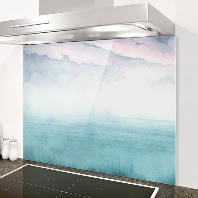 Glas Spritzschutz - Dämmerung auf der Bucht I - Querformat - 4:3