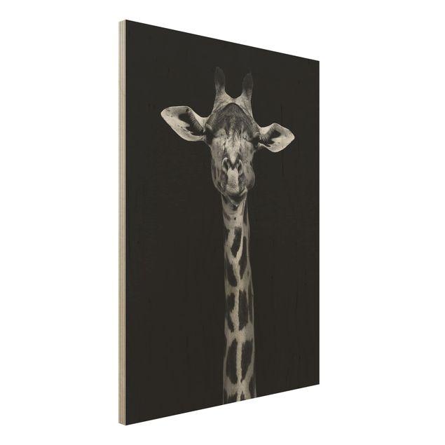 Holzbild - Dunkles Giraffen Portrait - Hochformat 4:3