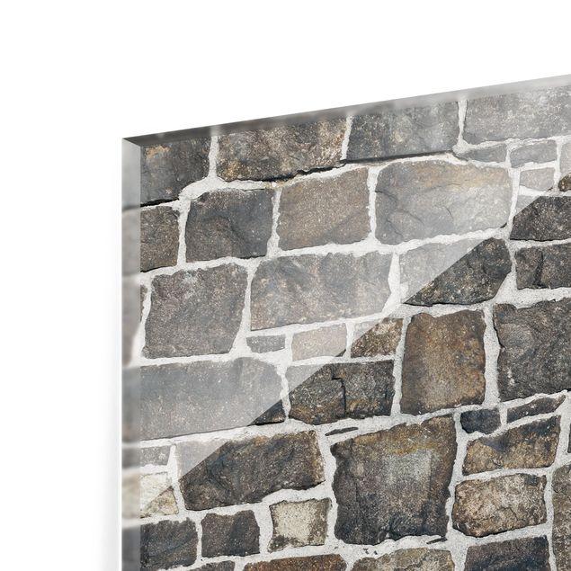 Glas Spritzschutz - Bruchsteintapete Natursteinwand - Querformat - 4:3