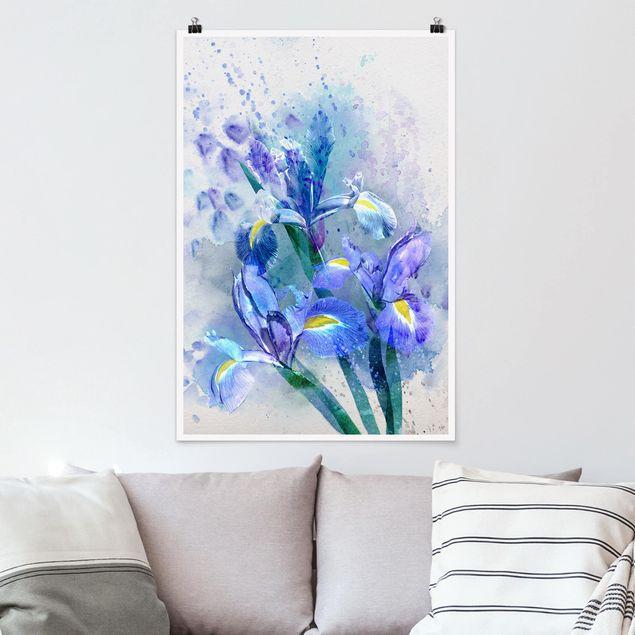 Poster - Aquarell Blumen Iris - Hochformat 3:2