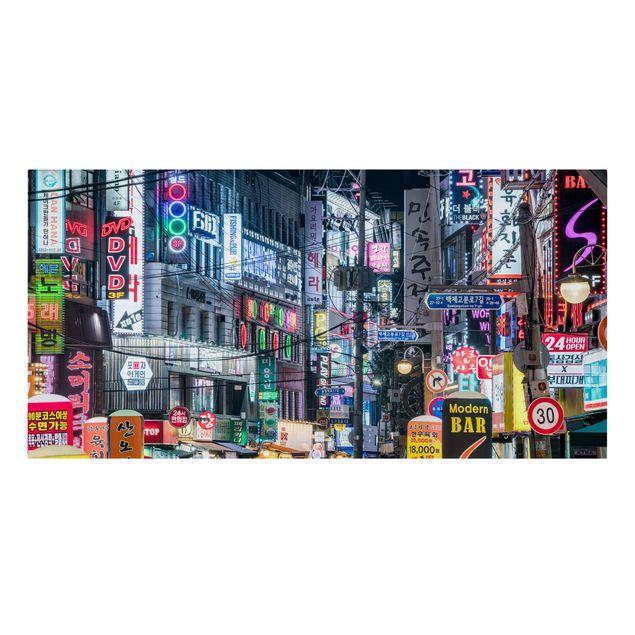 Leinwandbild - Nachtleben von Seoul - Querformat 2:1